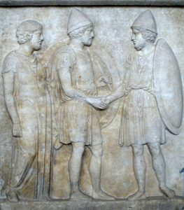 """""""Handshake"""" - Priest and two soldiers, 500BC. Pergamon Museum Berlin (SK1708)"""